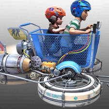 Hiro and Tadashi shopping cart flying machine